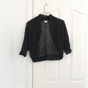 LOFT Black Crochet Shawl Cardigan